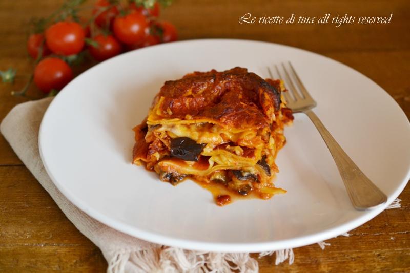 lasagne melanzane e scamorza,lasagne con melanzane,lasagne,le ricette di tina