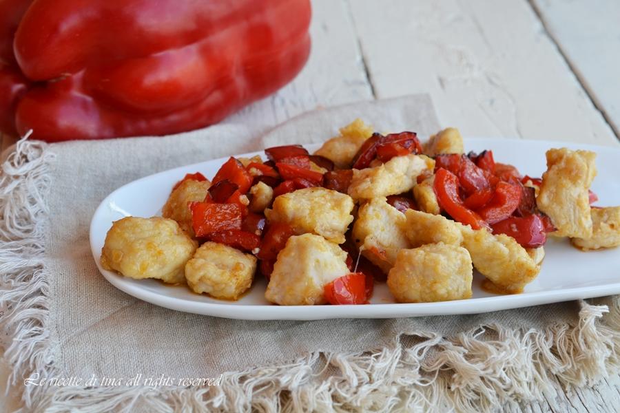 pollo con peperoni,pollo in padella,pollo ricetta veloce,le ricette di tina