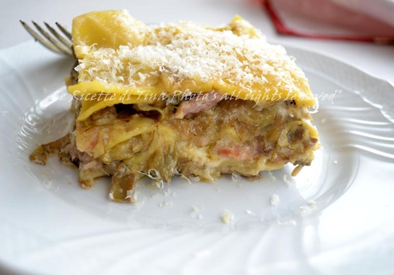lasagne ai carciofi pasta al forno lasagne bianche lasagne
