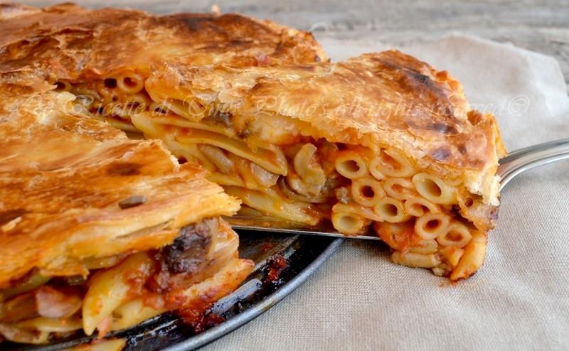 pasta al forno,pasta in crosta,pasta con funghi,pasta filante