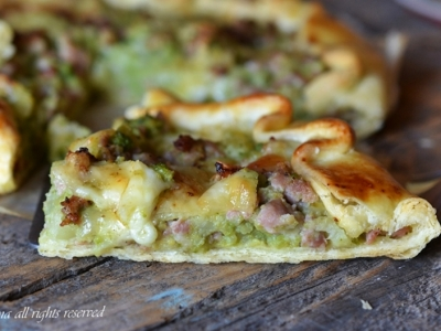 torta salata senza uova,torta salata broccoli e salsiccia,broccoli e salsiccia,le ricette di tina