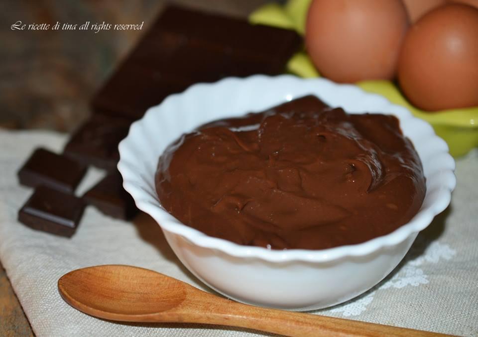 crema al cioccolato,crema per dolci,cioccolato,crema pasticcera al cioccolato,le ricette di tina
