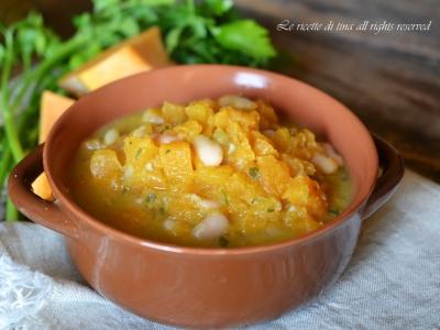 zucca e fagioli,zucca,ricette con zucca,zuppa,zuppa con zucca,le ricette di tina