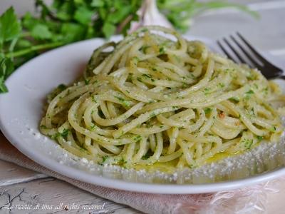 paghetti con pesto di prezzemolo,spaghetti con prezzemolo,le ricette di tina