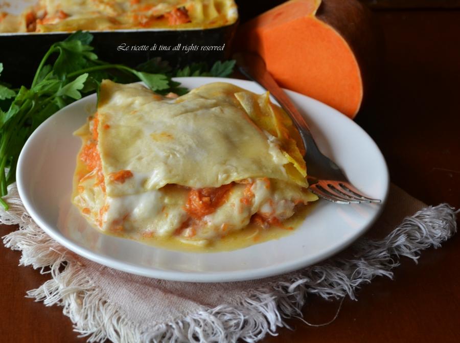 Lasagne zucca e salsiccia,lasagne in bianco,lasagne con besciamella,le ricette di tina