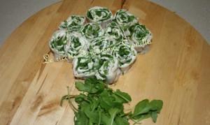 girelle d'arrostino con crescenza e rucola(finger food)