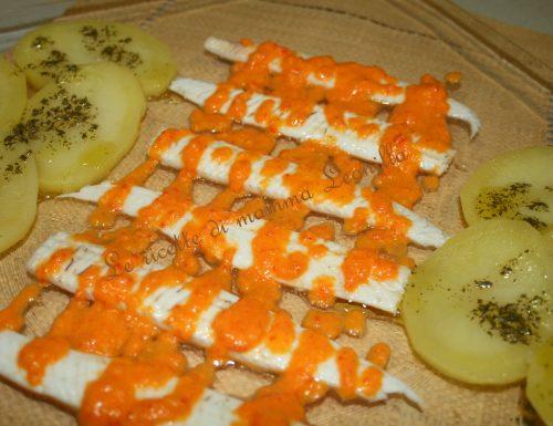 SOGLIOLE CON SALSA DI PEPERONI(ricetta antipasto/secondo di pesce)