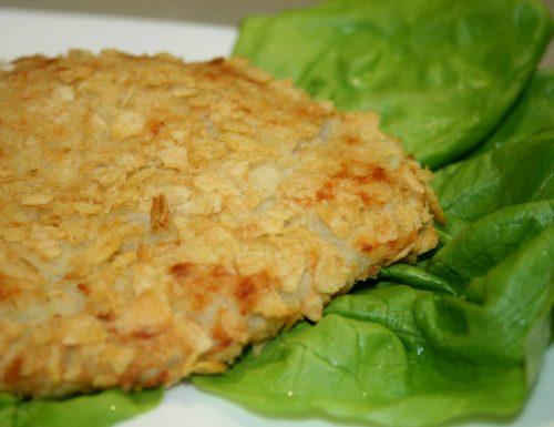COTOLETTE DI PESCE E PATATINE CHIPS SENZA UOVA -ricetta secondo di pesce