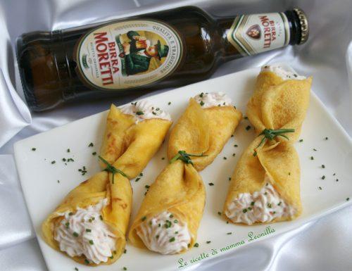 CRESPELLE ALLA BIRRA CON MOUSSE AL SALMONE -ricetta finger food