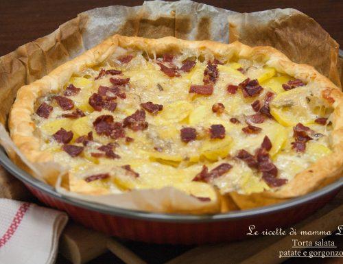 TORTA SALATA PATATE E GORGONZOLA -ricetta salata senza lievitazione