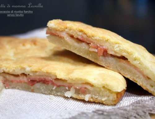 FOCACCIA DI RICOTTA FARCITA, ricetta senza lievito in 2 minuti