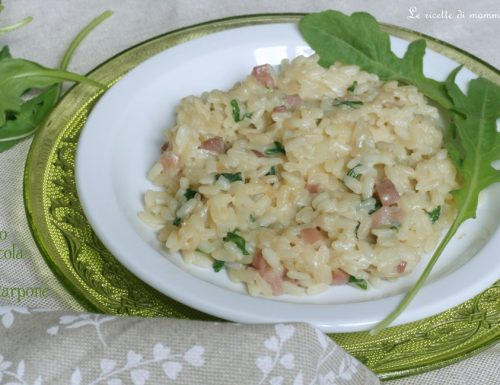 RISOTTO CON RUCOLA SPECK E MASCARPONE, ricetta primo facile