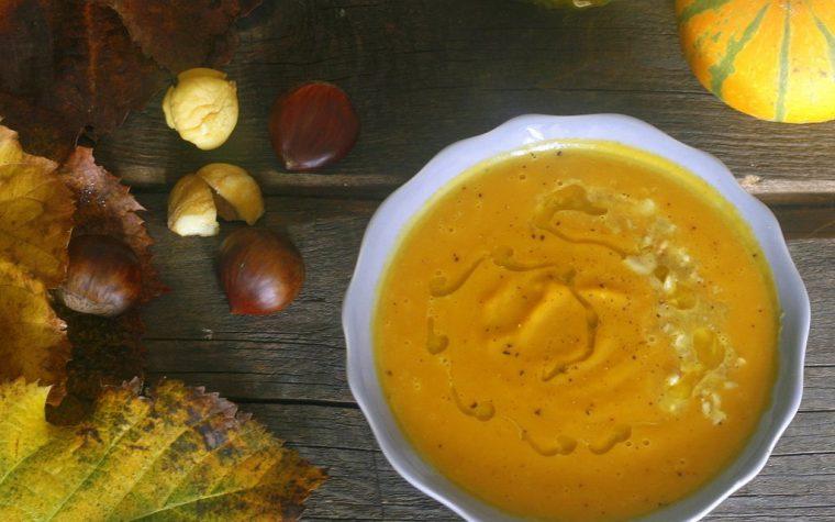 VELLUTATA DI ZUCCA E CASTAGNE, ricetta zuppe