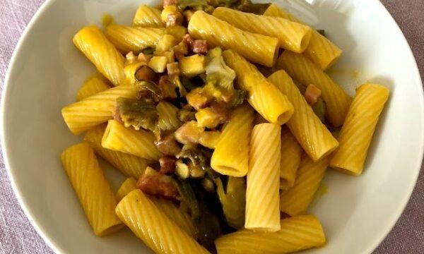 Tortiglioni alla carbonara pancetta e carciofi