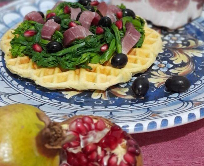 Waffle salato vegano