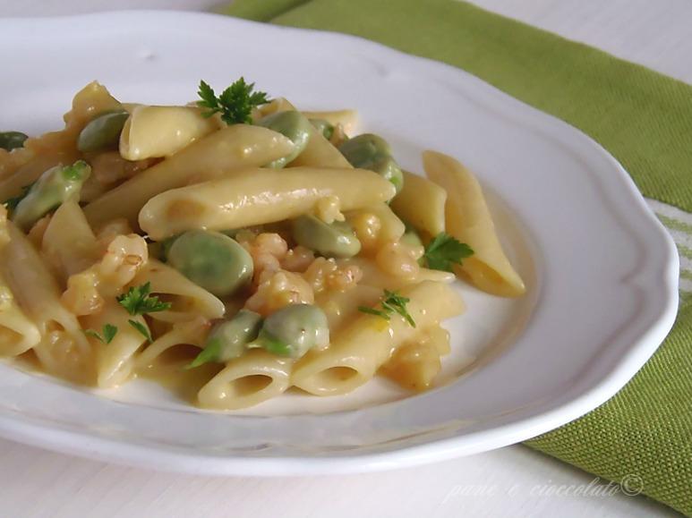Pasta Fave Gamberetti e Zafferano