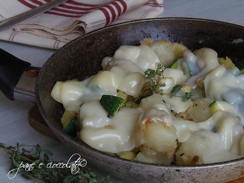 Zucchine e patate alla mozzarella