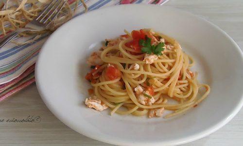 Spaghetti al persico e pomodoro