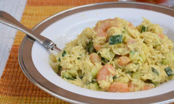 Ricetta risotto cremoso gamberetti e zucchine