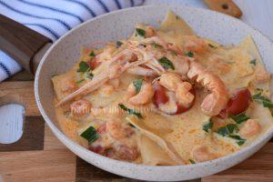 Ricetta lasagne in padella agli scampi