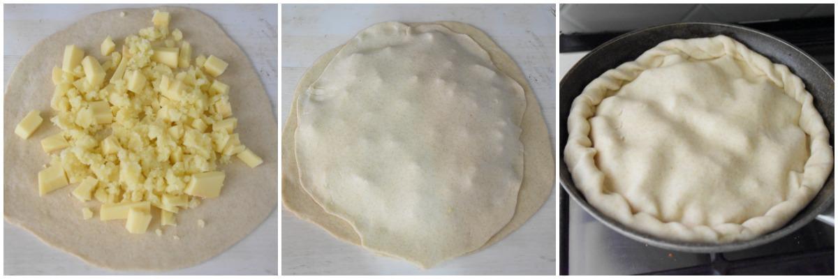 Torta Rustica al formaggio in padella collage