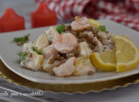 Insalata di patate lenticchie e gamberetti