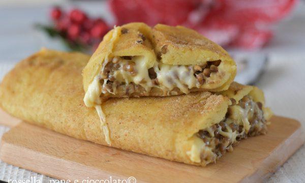 Rotolo di patate ripieno di lenticchie e formaggio