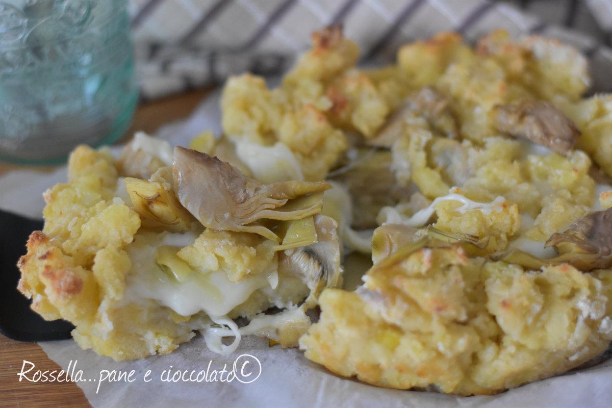 Sbriciolata di patate ai carciofi e provola