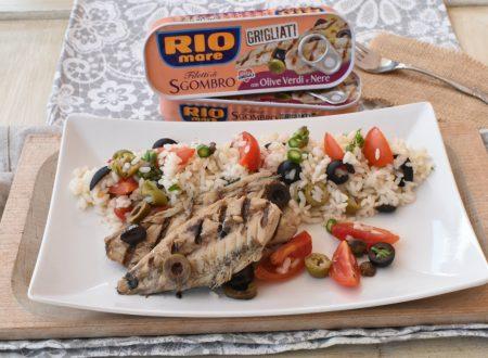 Insalata di Riso con Filetti di Sgombro alle Olive Verdi e Nere