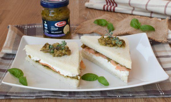 Finger Food di Pancarre con Salmone e pestato alle melanzane