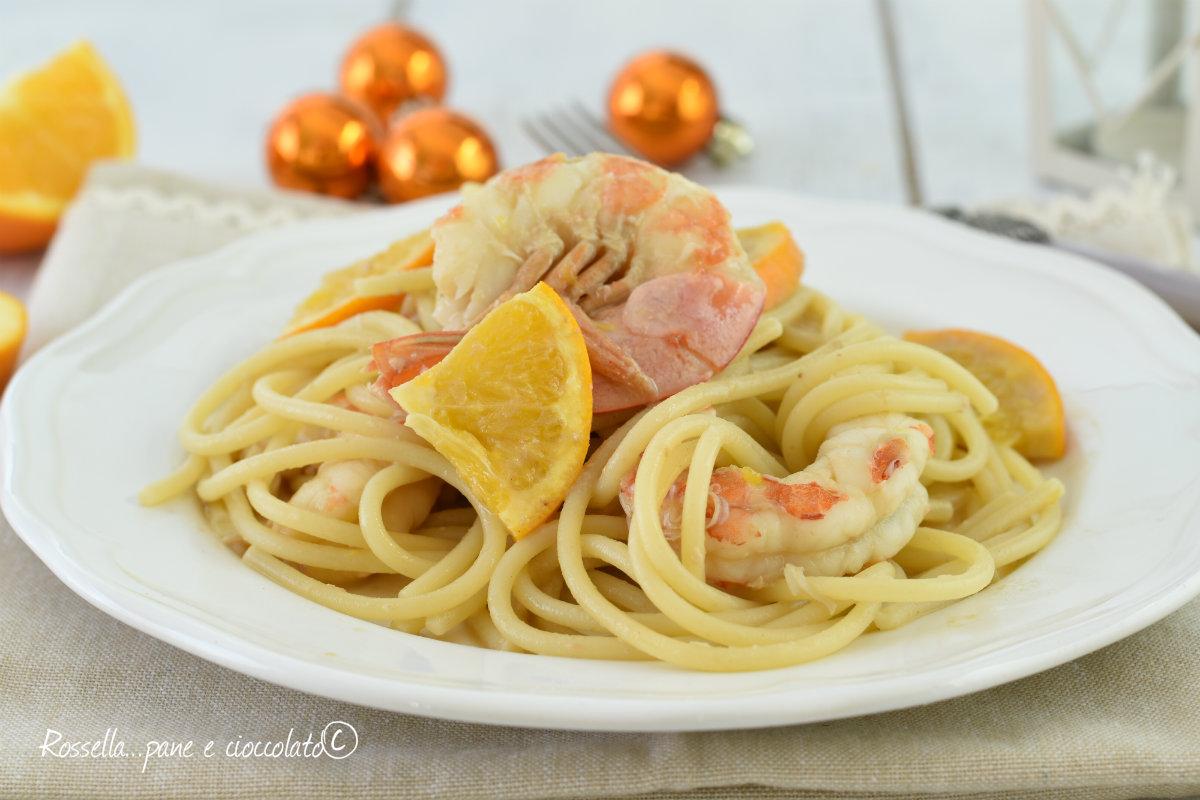 spaghetti gamberi e arancia