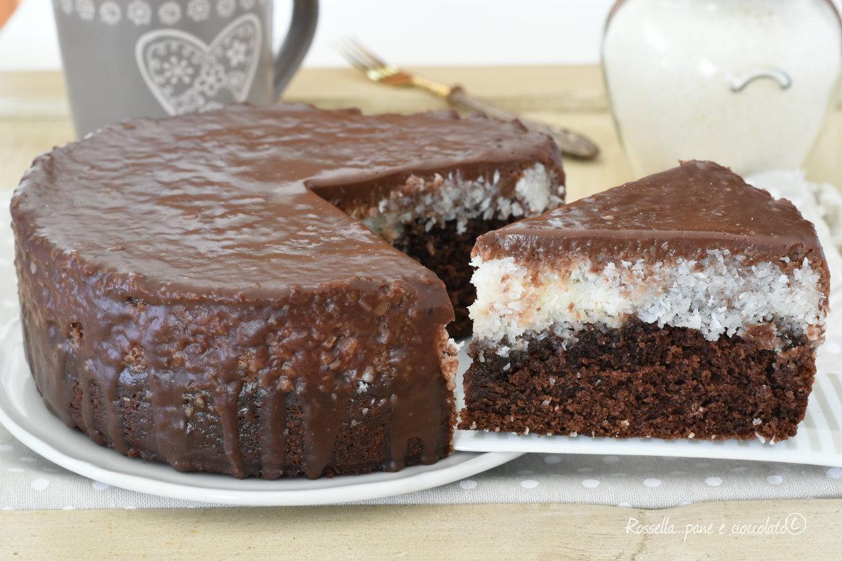 Ricetta Torta Al Cioccolato E Cocco.Torta Cocco E Cioccolato Facile Dal Doppio Impasto Cremosa E Golosa