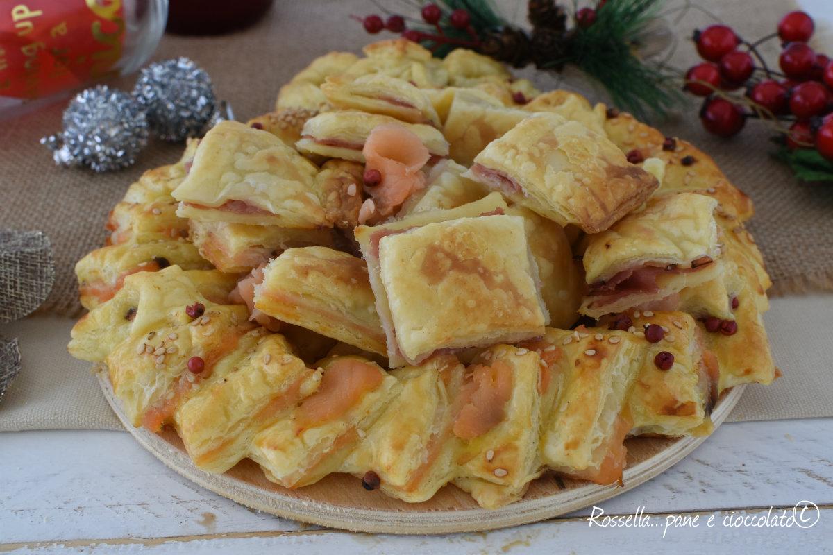 Antipasti Di Natale Misti.100 Antipasti Di Pasta Sfoglia Prosciutto Cotto E Salmone Misti