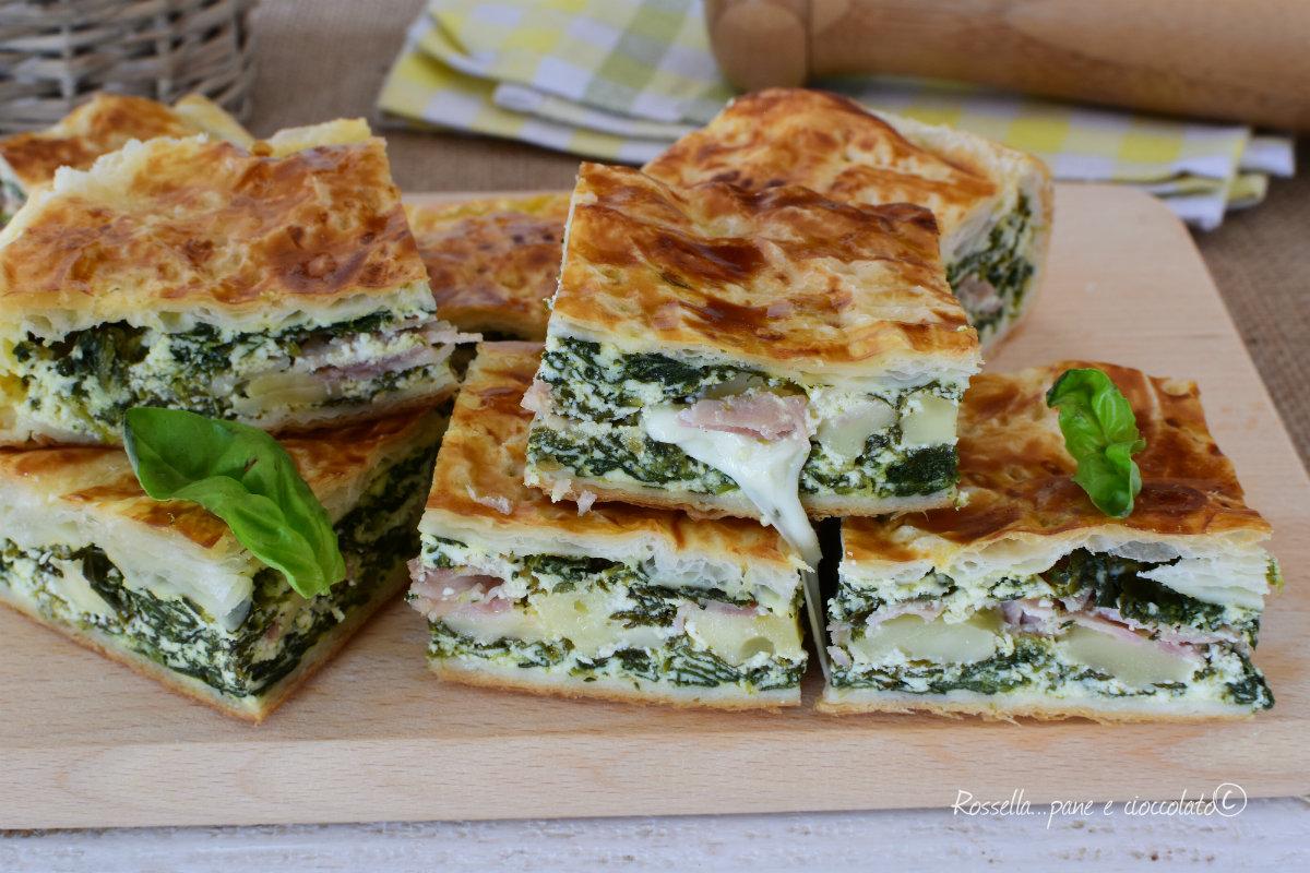 Torta salata con spinaci e prosciutto cotto