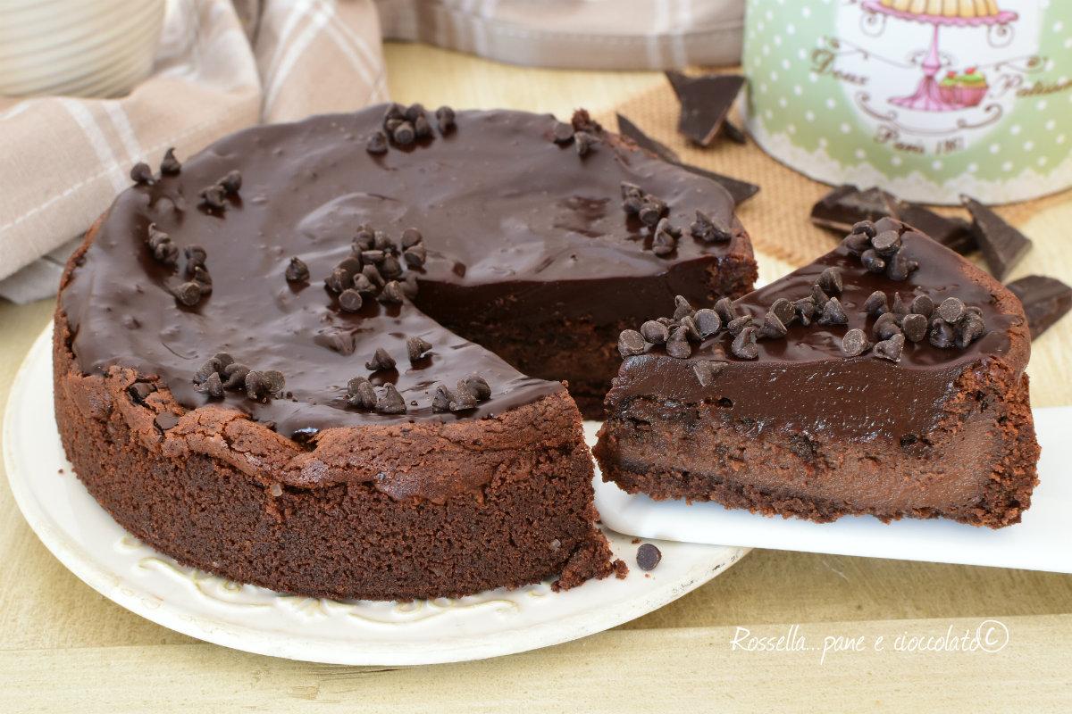 CHEESECAKE al Cioccolato DOLCE goloso al Forno con MOUSSE sopra