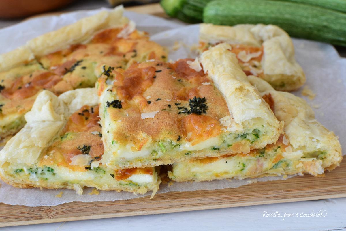 TORTA RUSTICO Salato ZUCCHINE e Mozzarella ANTIPASTO veloce al forno