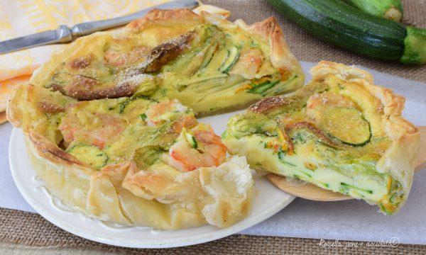 Torta Salata Zucchine e Gamberi di pasta sfoglia