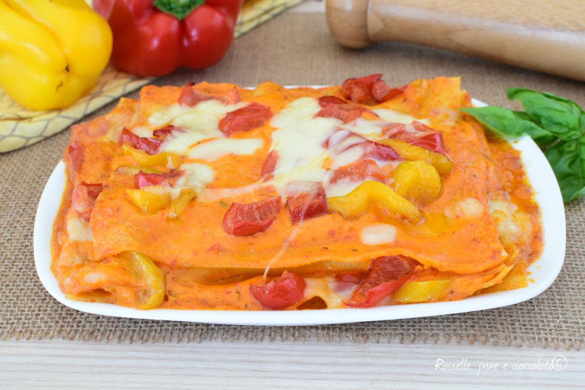 Lasagne al Forno ai Peperoni Dolci e Mozzarella