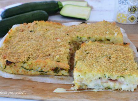 Pizza di Riso Zucchine Mozzarella e Cotto