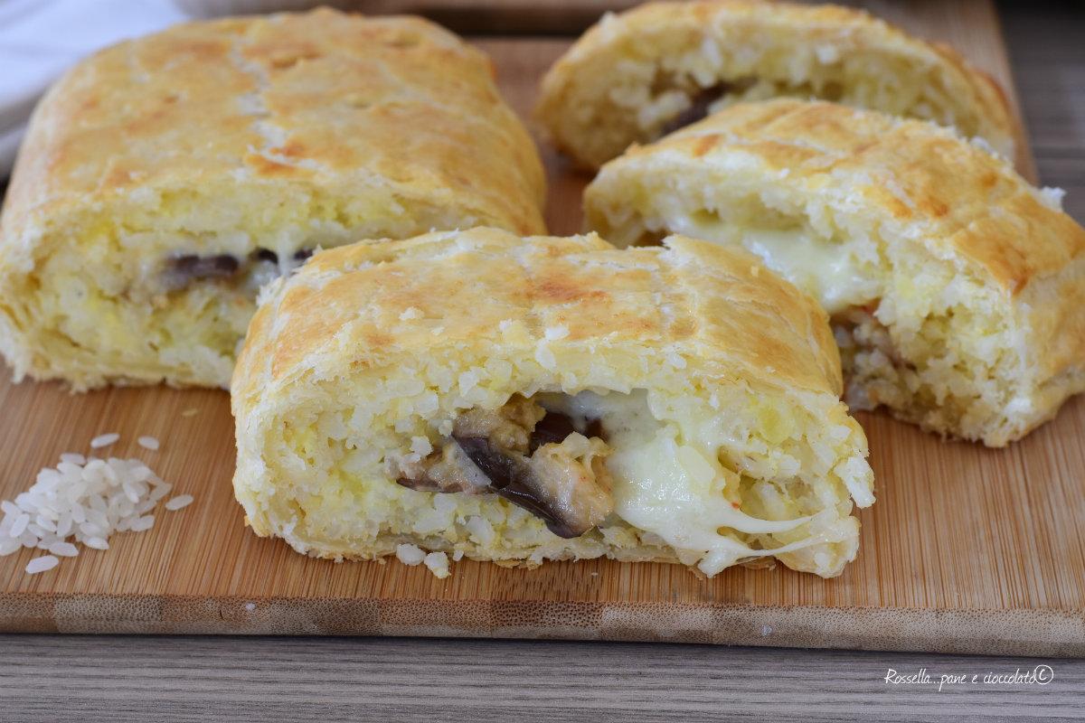Pasta Sfoglia Ripiena con Melanzane Riso e Mozzarella
