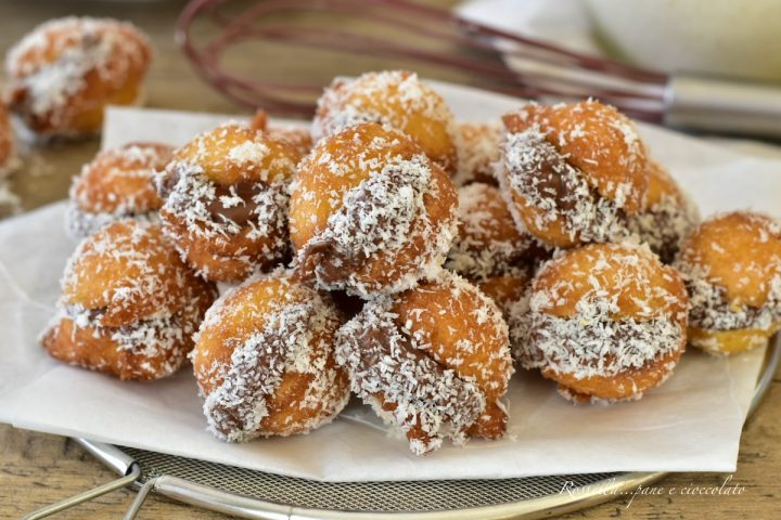 frittelle cocco e nutella dolce con la nutella senza lievitazione ricetta veloce ricetta di Carnevale