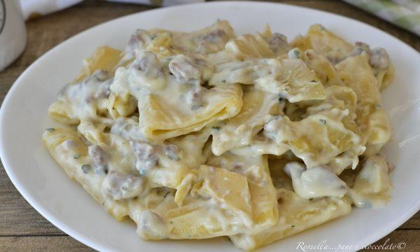Paccheri con Carciofi e salsiccia Ricetta Piatto di Pasta