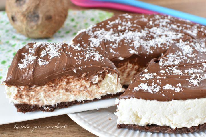 CHEESECAKE al COCCO Ricetta fresca, DOLCE con Nutella sopra