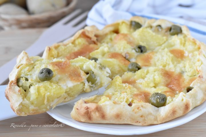 Torta Salata PATATE Olive e Provola l' Antipasto con Pasta Sfoglia