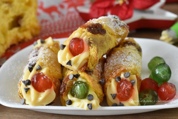 CANNOLI di Panettone Ripieni di Crema Pasticcera i DOLCI di Natale facili