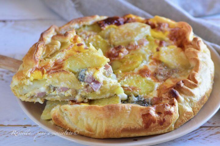 Sfoglia Patate Gorgonzola e prosciutto cotto facilissima Antipasto o Piatto unico