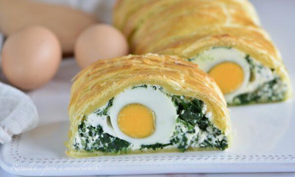 Rustico di Pasqua l' ANTIPASTO con pasta sfoglia ripieno di uova e spinaci
