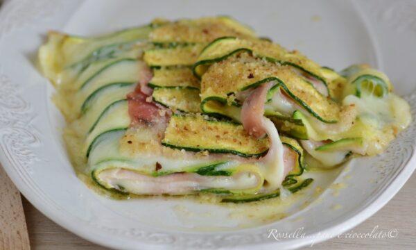 Rotolo di Zucchine Semplice e Ripieno con Mozzarella e Prosciutto ANTIPASTO