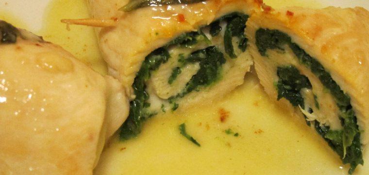Involtini di pollo con spinaci e formaggio
