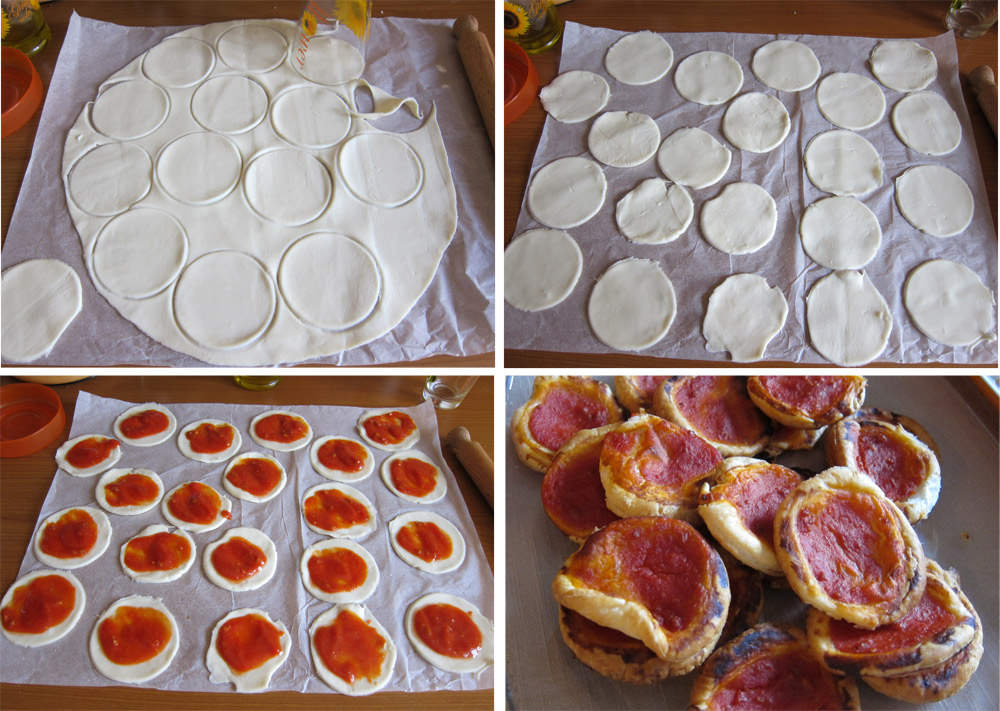pizzette rosse di pasta sfoglia